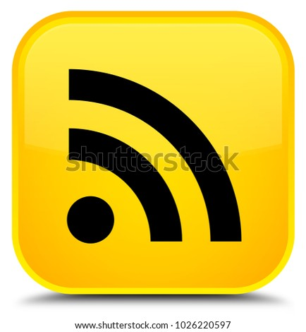 RSS icon isolated on special yellow square button abstract illustration