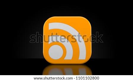 RSS icon on black background. 3d illustration