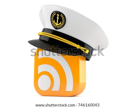 RSS icon with captain hat isolated on white background. 3d illustration