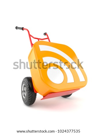 RSS icon with hand truck on white background. 3d illustration