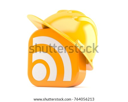 RSS icon with hardhat isolated on white background. 3d illustration