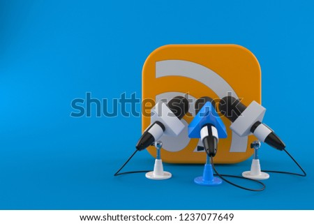 RSS icon with interview microphones isolated on blue background. 3d illustration