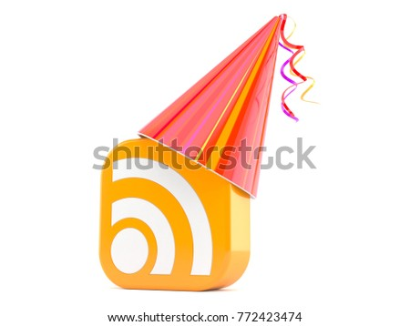 RSS icon with party hat isolated on white background. 3d illustration