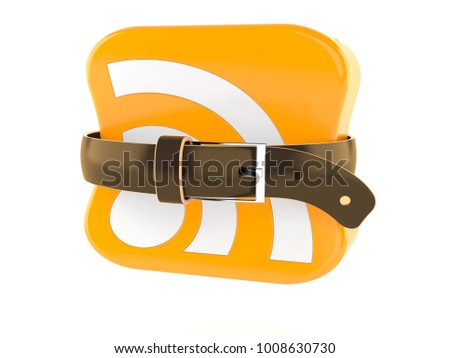 RSS icon with tight belt isolated on white background. 3d illustration