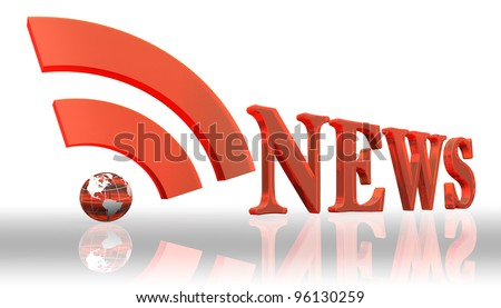 rss news logo word and orange earth globe with clipping path