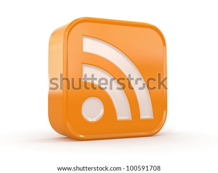Rss or feed icon on white isolated background. 3d