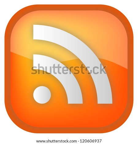 Rss orange isolated glossy button