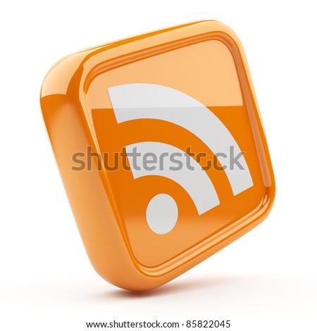 RSS orange symbol 3D. Icon isolated on white background