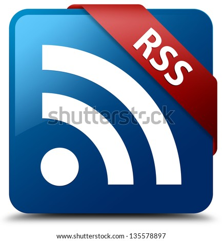 RSS (RSS icon) glassy red ribbon on glossy blue square button