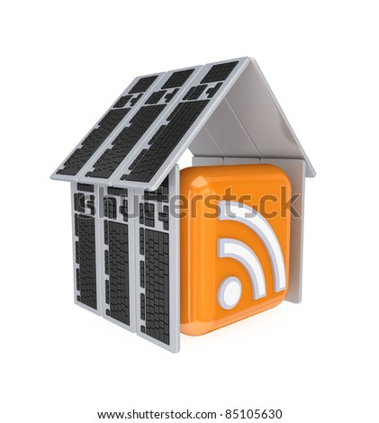 RSS sign under a roof made of PC keyboards.3d rendered.Isolated on white background.