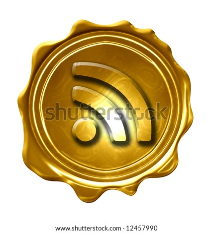 RSS symbol engraved on a golden medal
