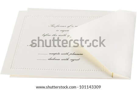 Rsvp Card And Envelope For A Formal Event Stock Photo 101143309