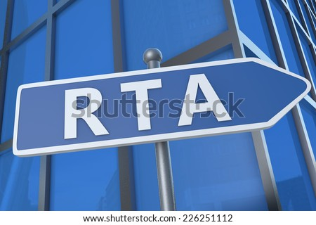 RTA - Real Time Advertising - illustration with street sign in front of office building.