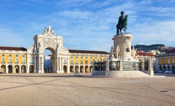 Rua Augusta Arch is a triumphal, historical building  in Lisbon on Commerce Square, Portugal