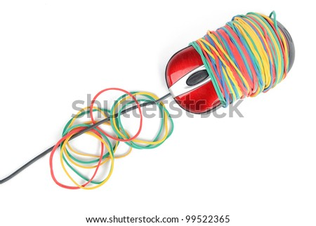Rubber band and computer mouse