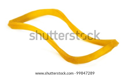 Rubber band over white background