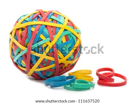 Rubber Bands and a Rubber Band Ball on White Background