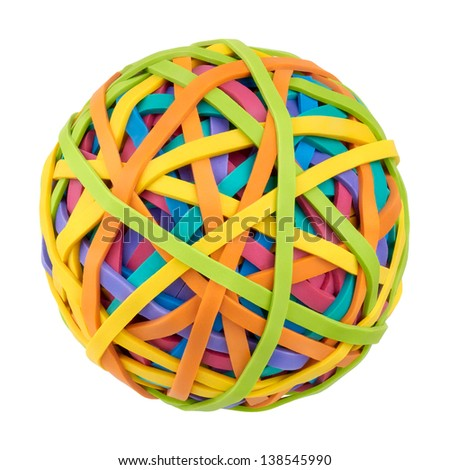 Rubber bands for money on a white background. Symbol of globalization, diversity and complexity of the modern world