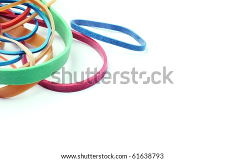 Rubber bands on a white background with space.