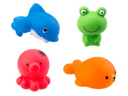rubber bath toys isolated on white background
