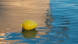 rubber boat fender on the sea