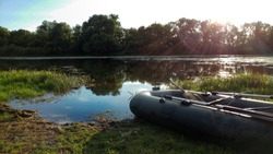 rubber boat on the river bank