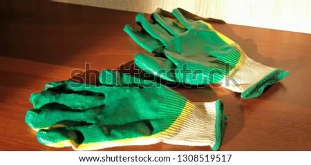 Rubber coated gloves.Work gloves close-up