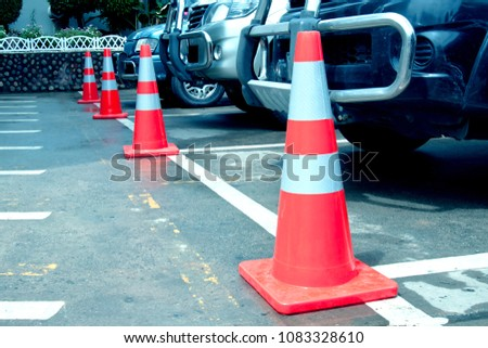 Rubber cone for traffic markers or parking. #1083328610