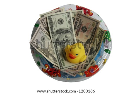 rubber duck swimming in money