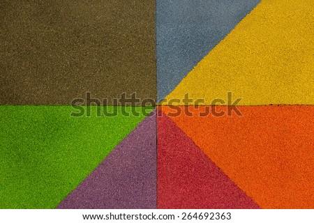 Rubber flooring Play park flooring as rainbow.
