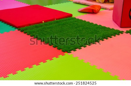rubber foam for baby play in playroom.