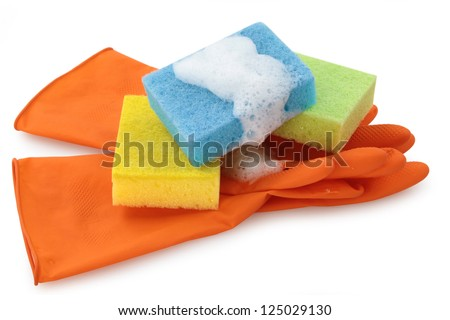 Rubber gloves and cellulose sponges ready for household cleaning tasks