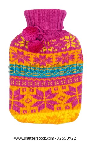 rubber hot water bottle in a knitted cover color on a white background
