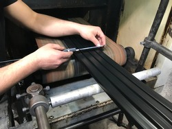 rubber profile on the production line