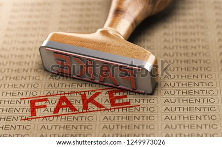 Rubber stamp and word fake printed on a paper background with the repeated text authentic. Concept of counterfeit or plagiarism. 3D illustration.