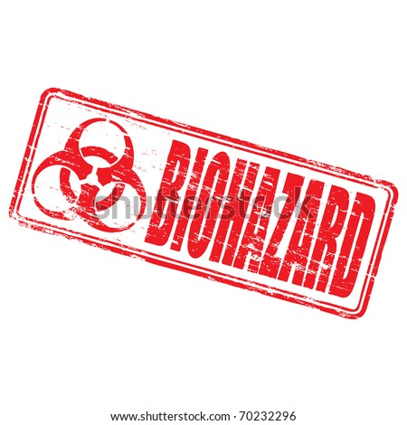 "Rubber stamp illustration showing ""BIOHAZARD"" text and symbol"