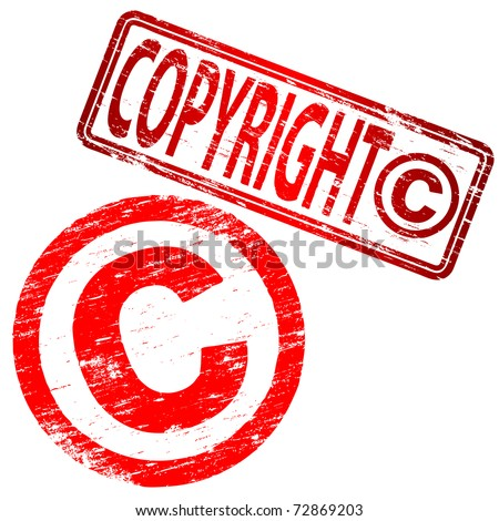 "Rubber stamp illustration showing ""COPYRIGHT"" text and symbol"