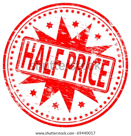 "Rubber stamp illustration showing ""HALF PRICE"" text"