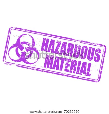 "Rubber stamp illustration showing ""HAZARDOUS MATERIAL"" text and biohazrd symbol"