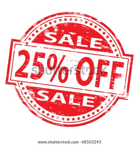 "Rubber stamp illustration showing ""25% Off"" text"