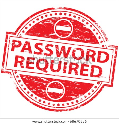"""Rubber stamp illustration showing """"PASSWORD REQUIRED"""" text and symbol"""