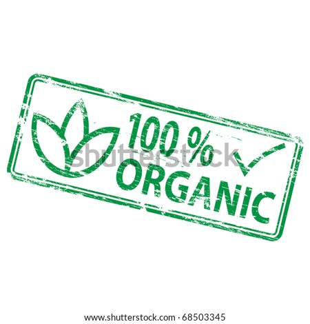 "Rubber stamp illustration showing ""100 Percent Organic"" text and symbol"