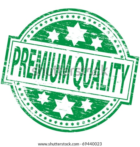 "Rubber stamp illustration showing ""PREMIUM QUALITY"" text"