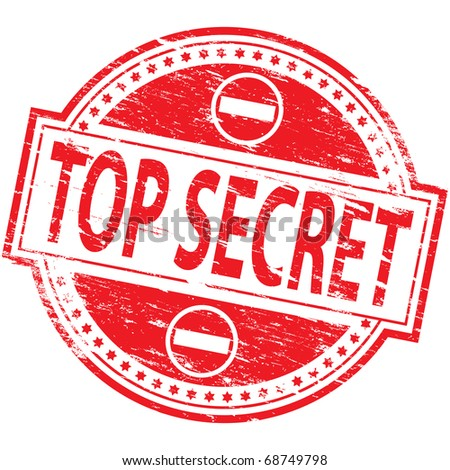 """Rubber stamp illustration showing """"TOP SECRET"""" text - stock photo"""