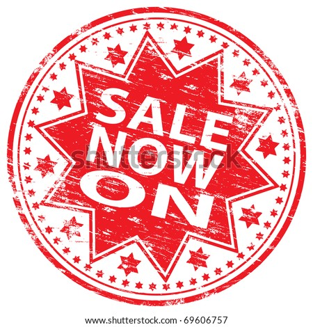 "Rubber stamp illustration showing ""SALE NOW ON"" text"