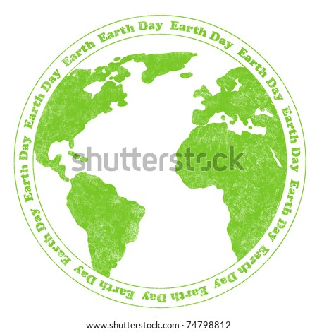 Rubber stamp illustration with world map and circular Earth Day text