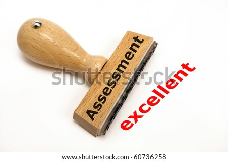 rubber stamp marked with assess