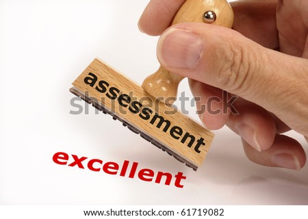 rubber stamp marked with assessment and copy excellent