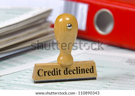 rubber stamp marked with credit declined