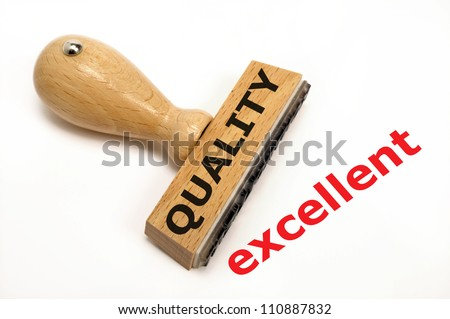 rubber stamp marked with quality and its copy excellent - stock photo